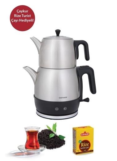 Goldmaster Goldmaster Hasbahçe  XL İnox Çelik Çay Makinesi - KettleIN-6331 - Çaykur Rize Turist Çayı Hediyeli Renkli